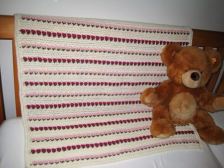 PINK and CERISE ROSES - hand crocheted baby blanket made from Luxury Soft Wool