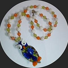 Glass owl necklace
