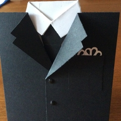 Gents suit card. Male birthday, groom or even Father's Day.