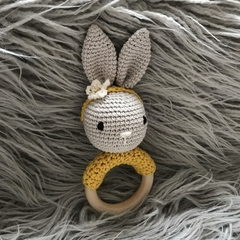 Crochet bunny rattle wooden ring baby gift