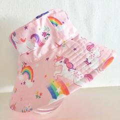 Girls summer hat in unicorns and rainbows fabric
