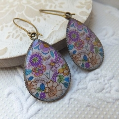 Pink and Lilac Floral Resin Antique Bronze Earrings