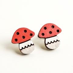 Red Mushroom  Wooden Earring Stud