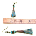 Turquoise, Tiger's Eye, and Copper Tone Tassel Earrings