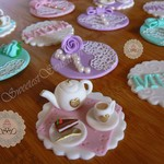 12 X High Tea cupcake toppers mothers day cupcake toppers