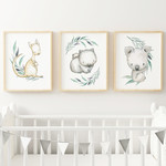 Set of 3x A4 Prints - Australiana Nursery Art Print, Child's bedroom decor