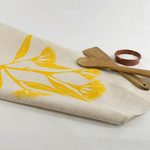 Linen Tea Towel with Gum Blossom Print in Yellow