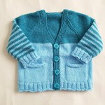 Teal baby cardigan - to 4 months, hand knitted with aqua stripes & cute pockets
