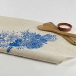 Linen Tea Towel with Succulent Garden Print in Blue