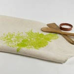 Linen Tea Towel with Succulent Garden Print in Green