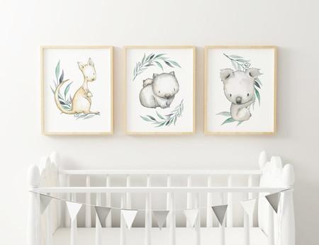 Set of 3x A4 Prints - Australiana Nursery Art Print, Child's bedroom decor