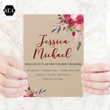 Wedding Invitation - Boho Flowers