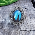 Ulysses Butterfly Ring - blue Butterfly wing