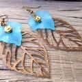 Large Bronze and Blue Leaf Earrings, Boho Style