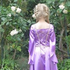 Lilac Satin Princess Dress with gold trim