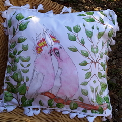 Pink Cockatoos Cushion Cover with Tassels