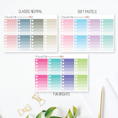 Ombre Heart Checklist Planner Stickers for Erin Condren Planner - LGE001