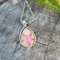 Mermaid Necklace - Real Pink Starfish beach sand pendant