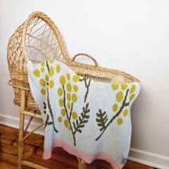 Pure Merino wool knit Baby blanket with wattle flower design