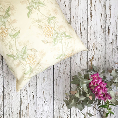Dragonfly and rose cushion cover 16 inch square - shabby chic / farmhouse decor