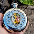 Sunset Moth Wing Hip Flask - Real wing on a Stainless Steel 5oz hipflask