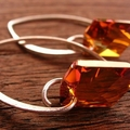 Swarovski Cosmic Crystal and Sterling Silver Earrings Copper