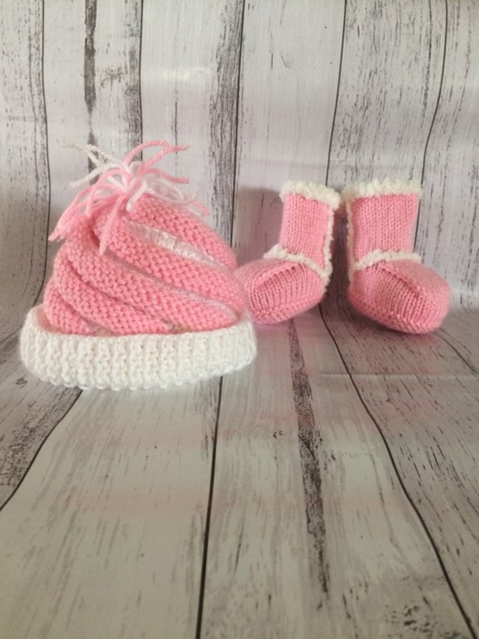 7bc058b16a9 Pink and white knitted beanie and ugg booties. | Just 4 You | madeit ...