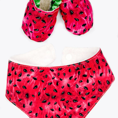 Watermelon soft sole shoe & bandana bib set
