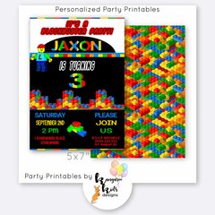 "Birthday Invitation 5x7"" Digital Plastic Lego Blocks Design"