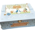 Peter Rabbit Blue Time Capsule, Keepsake, Trinket, Treasure, Wooden, Baby Box
