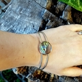 Fairy Wing cuff, Sunset Moth Wing Bracelet - REAL black and green wing