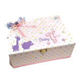 Pink with Coloured Spots Baby, Keepsake, Trinket, Memory, Treasure Wooden Box