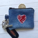 Small Upcycled Denim Purse - Red Heart