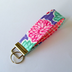 Wrist Key Fob / Key Ring - Flowers on Purple