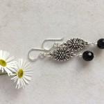 Black Agate Gemstone & Tibetan Bead Earrings, Unique Gift, Vintage Style
