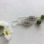 Emerald Gemstone & Tibetan Bead Earrings