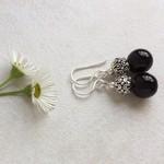 Black Agate Gemstone & Tibetan Bead Earrings