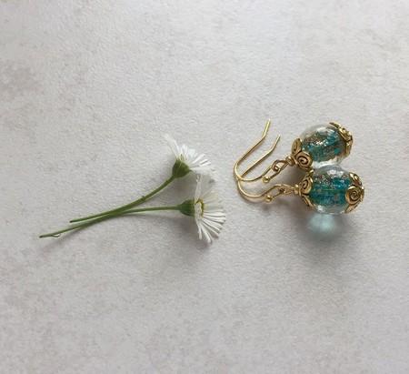 Aqua,Gold Sand Glass Bead Earrings, Unique Gift
