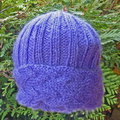 Mother's Day special. cabled adult hat,  mohair, ribbed, cabled