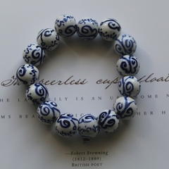 Hand Painted Blue Butterflies Porcelain Beaded Stretch Bracelet