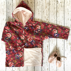Size 4 wine and floral corduroy coat with powder pink lining
