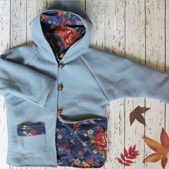 Size 4 winter duffle coat with hood - sky blue upcycled wool with floral lining