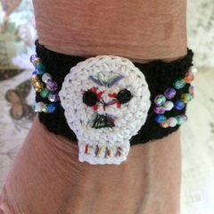 Hand Crocheted Sugar Skull Cuff with Crystal Beads