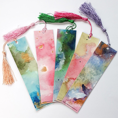 Set of 4 Abstract Watercolour Tassel Bookmark FREE SHIP in Australia!