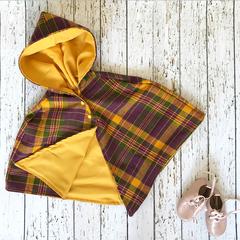 Size 3 purple yellow and green tartan cape
