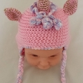 Unicorn earflap hat, beanie. Cream, pinks, or variegated.  Child 2-3yr