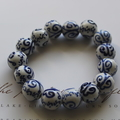 Hand Painted Blue Butterflies Porcelain Beaded Stretch Bracelet