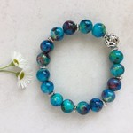 Blue Painted Glass Bead Bracelet