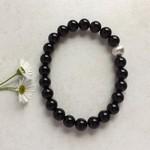 Black Agate Gemstone & Karen Hill Tribe Sterling Silver Beaded Bracelet
