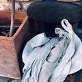 Violet - 100% Linen half apron with pockets